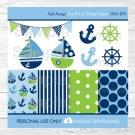 Sail Away Nautical Sailboat Clipart & Digital Paper #A210