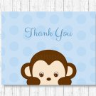 Little Monkey Blue Thank You Card Printable #A175