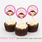 Girl Pop Monkey Pink Cupcake Toppers Party Favor Tags Editable PDF #A167