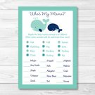 Little Blue Whale Nautical Baby Shower Baby Animal Match Game Printable #A129