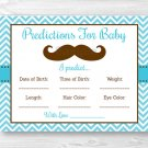 Little Man Mustache Chevron Baby Shower Baby Predictions Game Cards Printable #A376