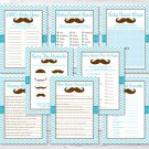 Little Man Mustache Chevron Baby Shower Games Pack - 8 Printable Games #A376