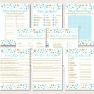 Twinkle Star Blue & Gold Glitter Baby Shower Games Pack - 8 Printable Games #A391