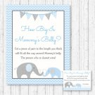 Blue Chevron Elephant How Big Is Mommys Belly Baby Shower Game #A187