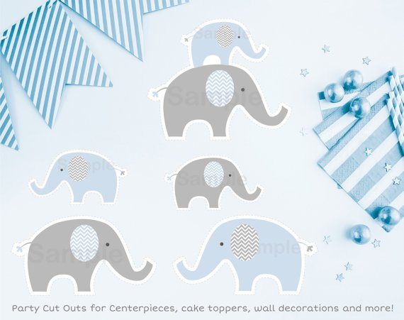 Blue Chevron Elephant Party Cutouts Decorations Printable #A187