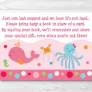 Pink Under The Sea Printable Baby Shower Book Request Cards #A262
