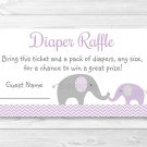 Purple Chevron Elephant Printable Baby Shower Diaper Raffle Tickets #A184