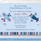 Airplane Blue & Red Printable Baby Shower Invitation Editable PDF #A155