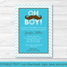 Mustache Little Man Oh Boy Printable Baby Shower Invitation Editable PDF #A376