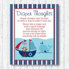 Nautical Pirate Whale Diaper Thoughts Late Night Diaper Baby Shower Game #A287