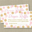 Blush Pink & Gold Glitter Dots Printable Baby Shower Diaper Raffle Tickets #A380