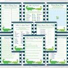 Preppy Alligator Baby Shower Games Pack - 8 Printable Games #A157