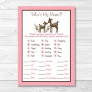 Pink Willow Deer Nautical Baby Shower Baby Animal Match Game Printable #A200
