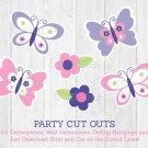 Pink & Purple Butterfly Party Cutouts Decorations Printable #A220