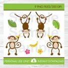 Monkey Jungle Clipart #A392