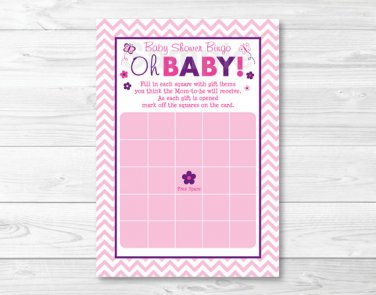 Pink Chevron Butterfly Oh Baby Printable Baby Shower Bingo Cards #A249