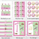 Pink Safari Jungle Animals Printable Baby Shower Party Package #A225