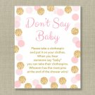 Blush Pink & Gold Glitter Dots Dont Say Baby Baby Shower Game Printable #A380