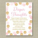 Blush Pink & Gold Glitter Diaper Thoughts Late Night Diaper Baby Shower Game #A380