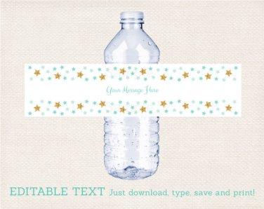 Twinkle Little Star Mint Green & Gold Water Bottle Labels Printable Editable PDF #A381