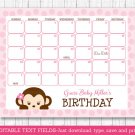 Girl Monkey Pink Baby Due Date Calendar Editable PDF #A167