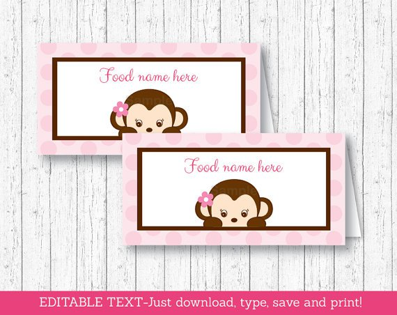 Mod Pop Monkey Pink Buffet Tent Cards & Place Cards Editable PDF #A167