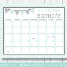Green Chevron Baby Due Date Calendar Editable PDF #A364