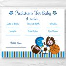Football Baseball Soccer Sport Baby Shower Baby Predictions Game Cards Printable #A119