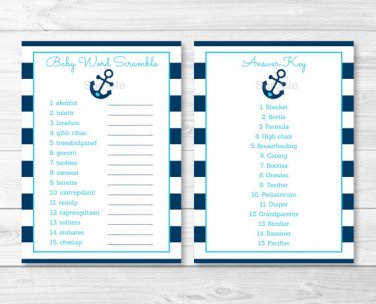 """Nautical Anchor Printable Baby Shower """"Baby Word Scramble"""" Game Cards #A222"""