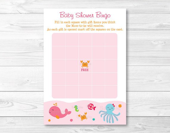 Pink Under The Sea Printable Baby Shower Bingo Cards #A262