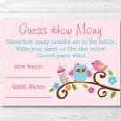 "Sweet Baby Owl Pink Love Bird Baby Shower ""Guess How Many?"" Game Cards #A253"