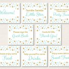 Twinkle Little Star Mint Green Gold Baby Shower Table Signs - 8 Printable Signs #A381