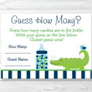 """Preppy Alligator Baby Shower """"Guess How Many?"""" Game Cards #A157"""