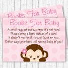 Girl Pop Monkey Pink Printable Baby Shower Book Request Cards #A167