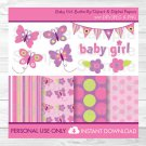 Baby Girl Pink Butterfly Clipart & Digital Paper #A221