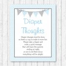 Blue Chevron Diaper Thoughts Late Night Diaper Baby Shower Game #A260