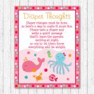 Pink Under The Sea Diaper Thoughts Late Night Diaper Baby Shower Game #A262