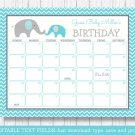 Teal Chevron Elephant Baby Due Date Calendar Editable PDF #A374