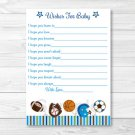 Sports Football Baseball Printable Baby Shower Wishes For Baby Advice Cards #A119