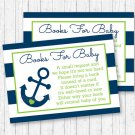 Nautical Anchor Blue & Green Printable Baby Shower Book Request Cards #A394