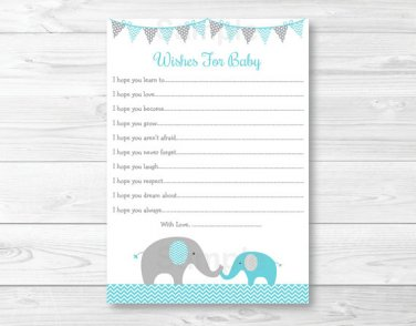 Teal Chevron Elephant Printable Baby Shower Wishes For Baby Advice Cards #A374