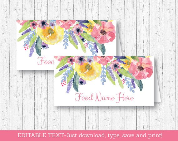 Watercolor Flowers Floral Buffet Tent Cards & Place Cards Editable PDF #A395