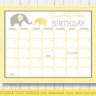 Yellow Chevron Elephant Baby Due Date Calendar Editable PDF #A181