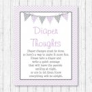 Purple & Grey Chevron Diaper Thoughts Late Night Diaper Baby Shower Game #A370