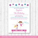 Gymnastics Birthday Invitation Printable Editable PDF #A383