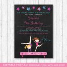 Gymnastics Chalkboard Birthday Invitation Printable Editable PDF #A384