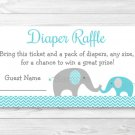 Teal Chevron Elephant Printable Baby Shower Diaper Raffle Tickets #A374