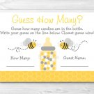 """Yellow & Grey Bumble Bee Gender Neutral Baby Shower """"Guess How Many?"""" Game Cards #A359"""