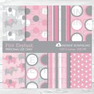 Pink & Gray Polka Dot Elephant Digital Paper #A160