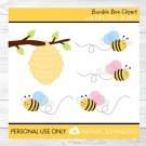 Bumble Bee Pink & Blue Busy Beehive Clipart #A134